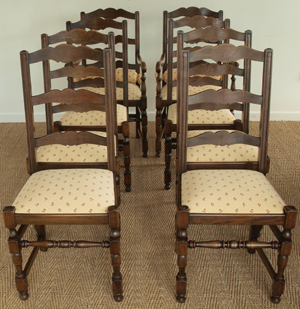 Antique Oak Set Of Six Two Carver Chairs
