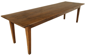 Antique Oak Long Farmhouse Table With Three Plank Top