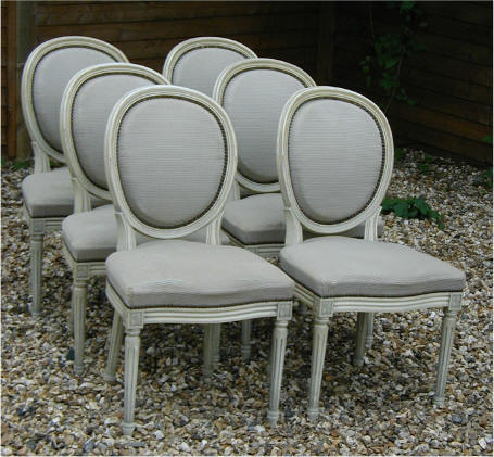 Merveilleux Good Set Of Six French Upholstered Dining Chairs