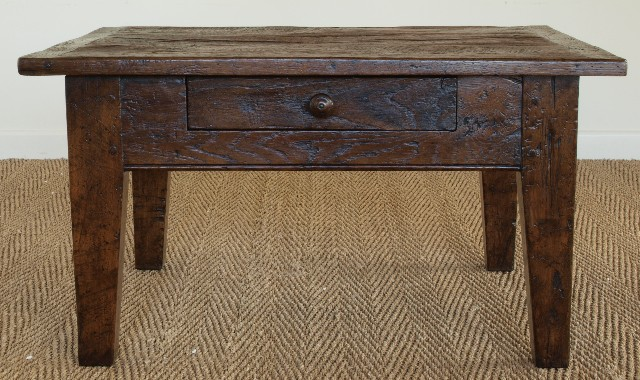 Antique Oak Small Rustic French Coffee Table