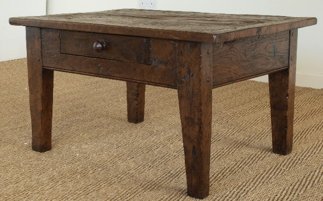 Side On View Of Antique Oak Coffee Table