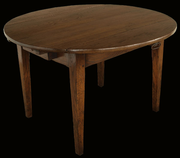 Antique French Oak Round Drop Leaf Dining Table