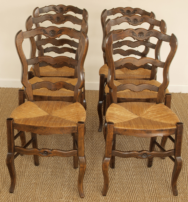 Antique Set Of Six Oak Cafe Style French Chairs