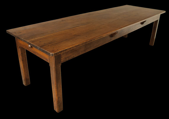 Antique Elm Table With Drawer At Either End