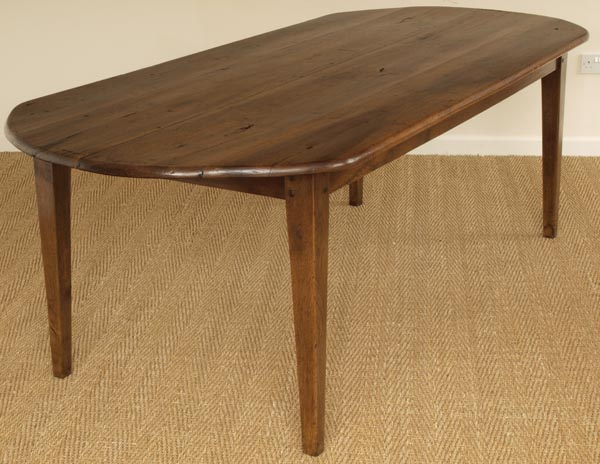 Antique French Walnut Oval Farmhouse Table
