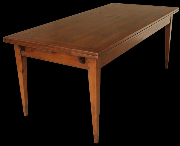 Antique wide french cherry farmhouse plank table for Farmhouse double wide